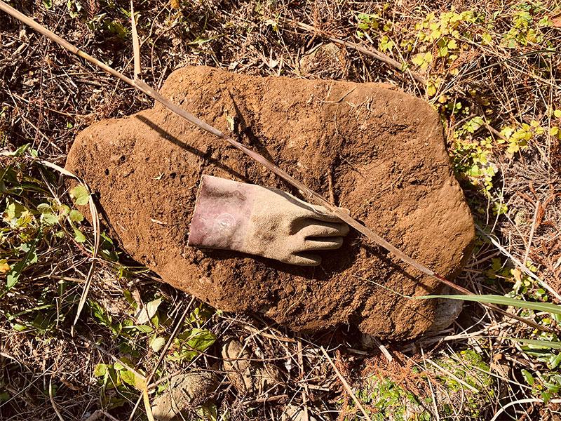大きな石も埋まっていた