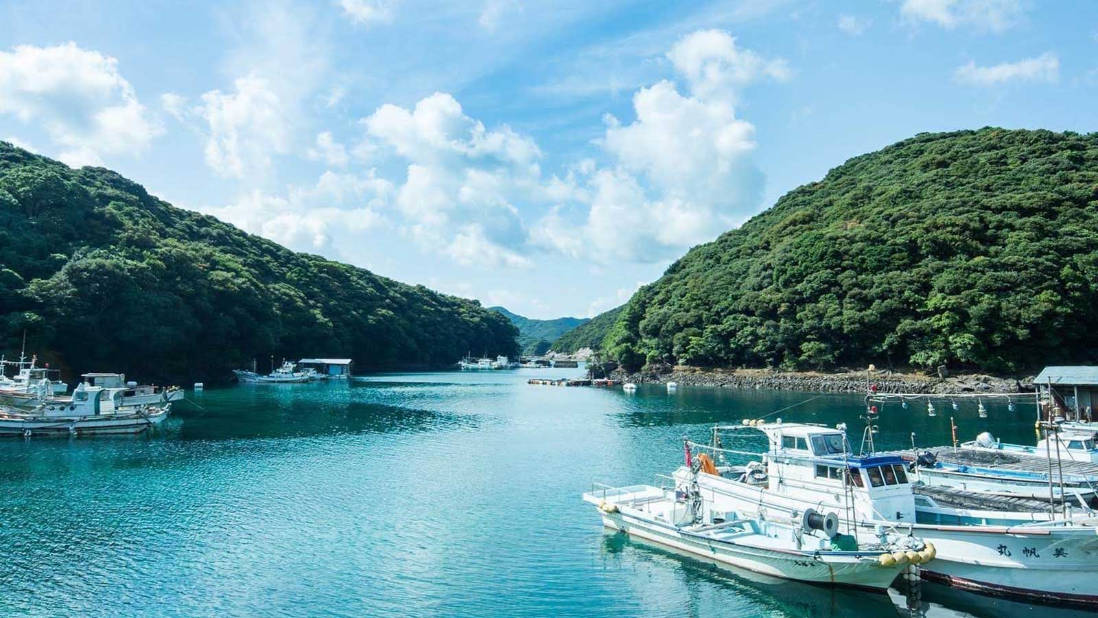 上五島の青い海と空、そして豊かな緑の中で芋焼酎「五島灘」は造られている。